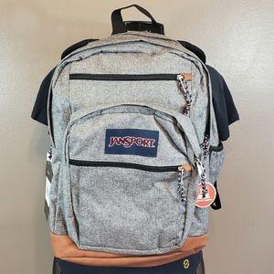 Jansport Student Gray Leather Letterman Backpack